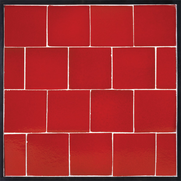 Red ceramic floor tiles